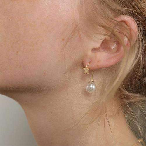 Gold Star and Faux Pearl Drop Earrings