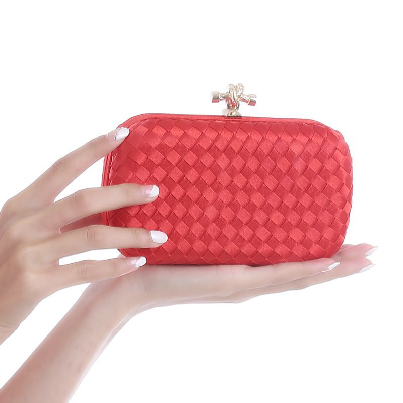 Weave Grain Buckle Evening Bag Clutch Purses