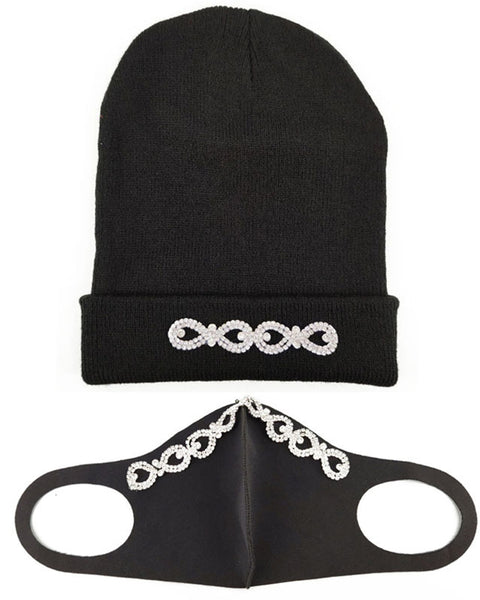 2pcs Rhinestone & Sequin Decor Face Mask & Beanie gallery 11