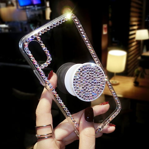 Luxury Small Rhinestone Trim Transparent Phone Case for Samsung with Phone Holder gallery 9