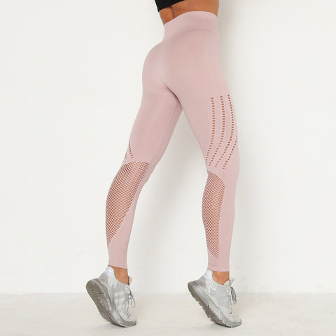 Hollow Out Contrast Mesh Insert Sports Leggings