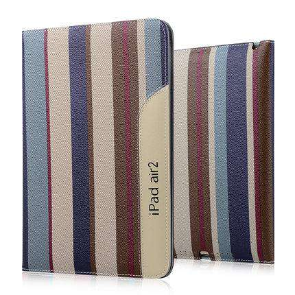 Patchwork Stripe Leather Apple iPad Cover Case gallery 2