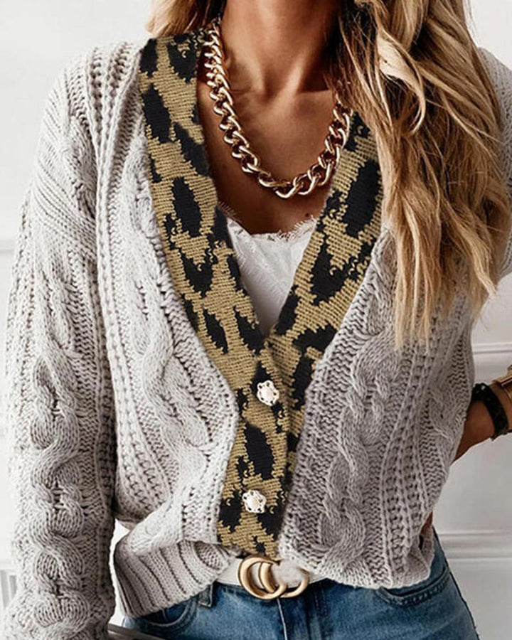 Leopard Print Cable Knit Drop Shoulder Sweater gallery 2