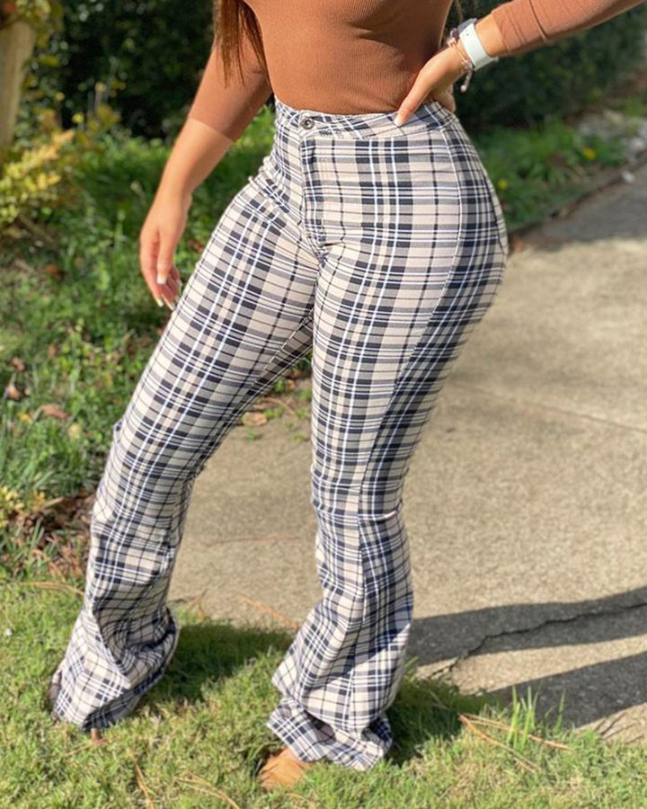 Plaid Zip Fly Patch Pocket Flare Leg Pants gallery 1