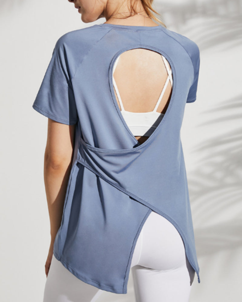 Cut Out Back Asymmetrical Trim Sports Tee