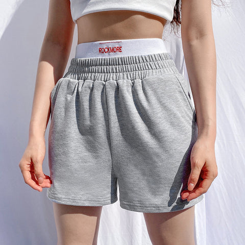 Two Tone Letter Graphic Waistband Straight Leg Shorts