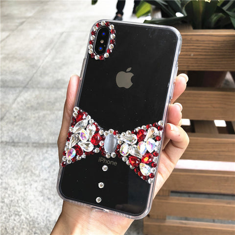 Bowknot Rhinestone Clear Transparent Phone Case for Samsung gallery 9