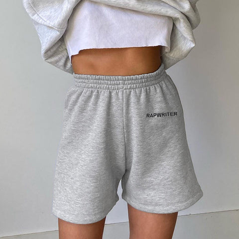 Solid Letter Graphic Straight Leg Shorts