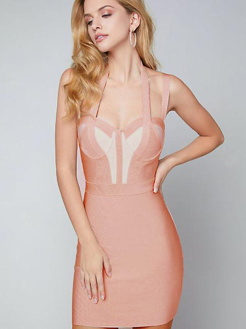Peach Pink Strappy Halter Bandage Dress gallery 6