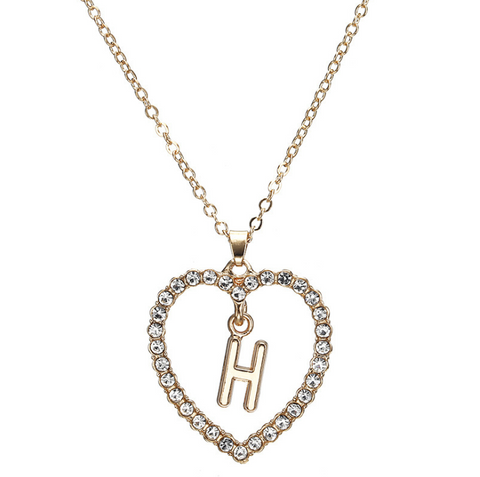 Gold Diamante Heart Shape Initial Pendant Necklace gallery 9