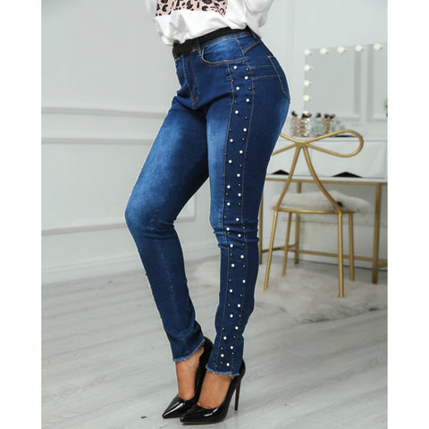 Rhinestone Side Push Up Butt Lifting Skinny Jeans