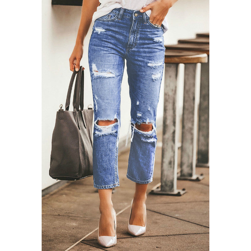 Mid Blue High Waist Distressed Staight Crop Jeans