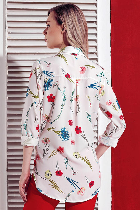 White Long Sleeve Floral Print Button Front Shirt gallery 4