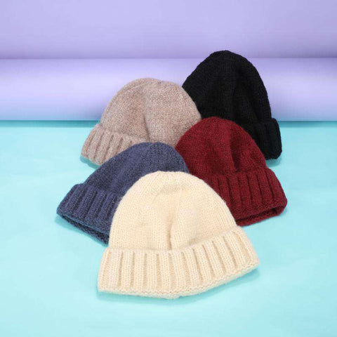 Solid-color Stitch Knit Beanie Hat gallery 14