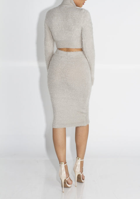 Solid Fluffy Knit Crop Sweater & Skirt Set gallery 10