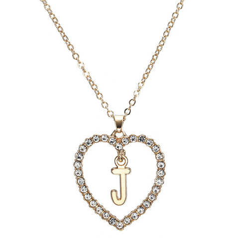 Gold Diamante Heart Shape Initial Pendant Necklace gallery 11