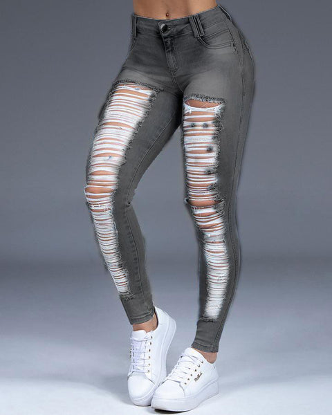 Extreme Distressed Stretch Butt Lifting Skinny Jeans gallery 2