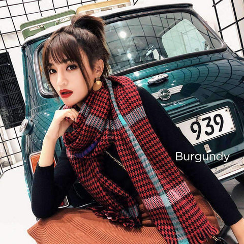 Classic Long Check Scarf With Frayed Edges For Men And Women, Unisex Faux Cashmere Plaid Muffler gallery 2