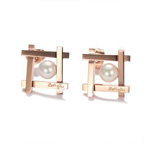 Geometry Stud Earrings with Faux Pearl