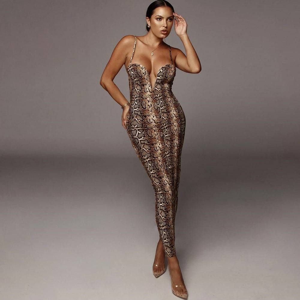 Sexy Snake Print V-Bar Strappy Bodycon Dress