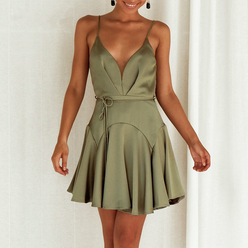 Summer Satin Bare Back Strappy Ruffled Dress