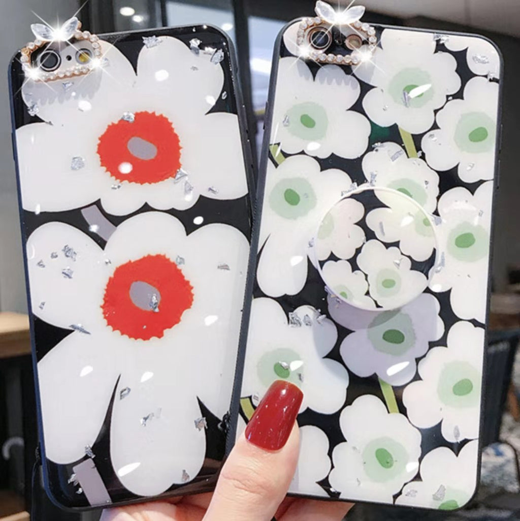 Mirror Flower Phone Case with Stand for All iPhone