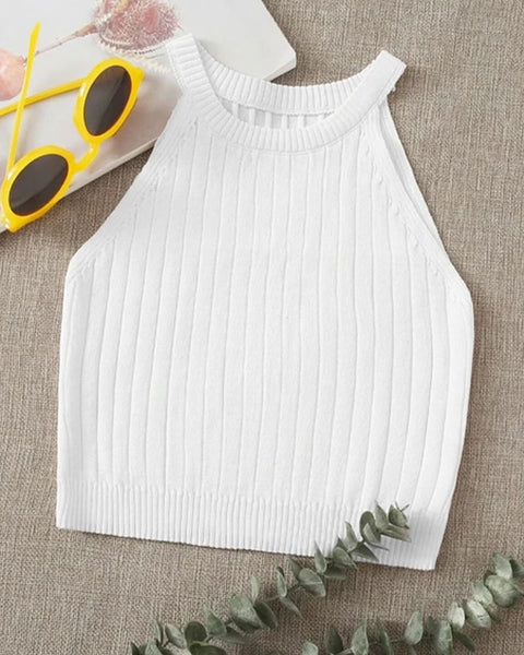 Ribbed Knit Round Neck Crop Sweater Vest