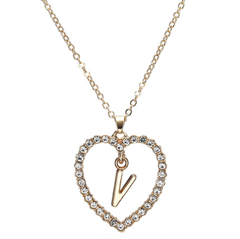 Gold Diamante Heart Shape Initial Pendant Necklace gallery 23