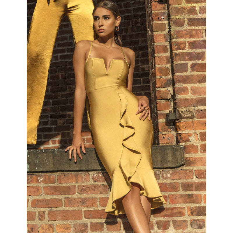 Yellow Square Neck Cut Out Frill Hem Bandage Dress