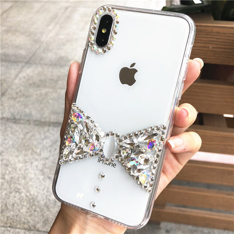Bowknot Rhinestone Clear Transparent Phone Case for Samsung gallery 6
