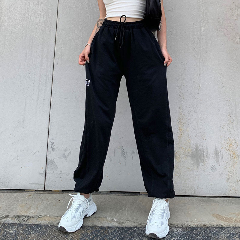 Solid Letter Embroidered Drawstring Waist Joggers