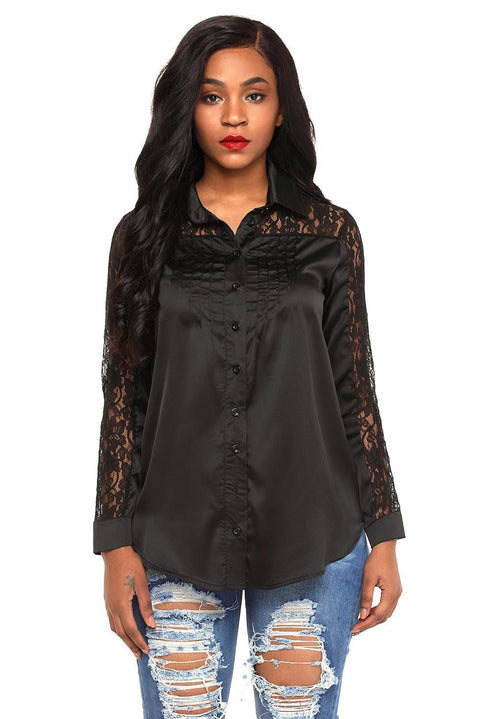 Black Lace Splice Long Sleeve Button Down Shirt gallery 4