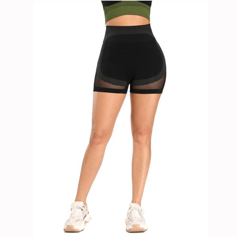 Mesh Panel Colorblock Wide Waistband Sports Shorts gallery 10