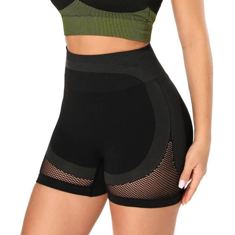 Mesh Panel Colorblock Wide Waistband Sports Shorts gallery 2