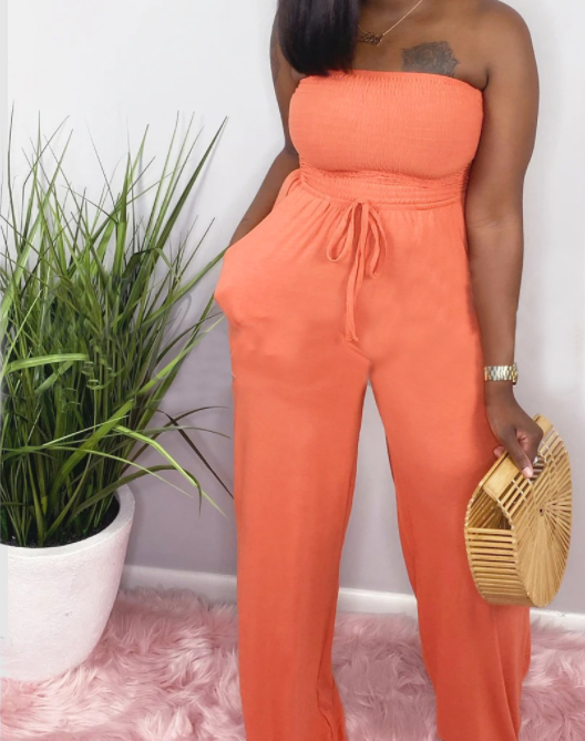 Solid Strapless Ruched Drawstring Jumpsuit