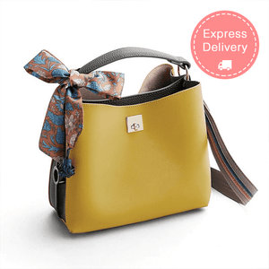 Women's Two-tone Bucket Shoulder Bag with Bow