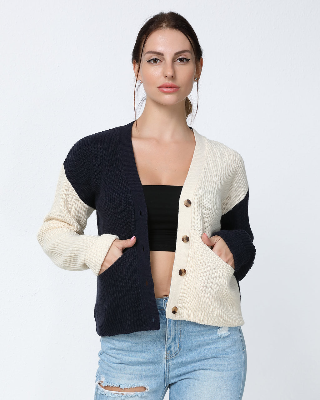 Button Front Dual Pocket Colorblock Cardigan