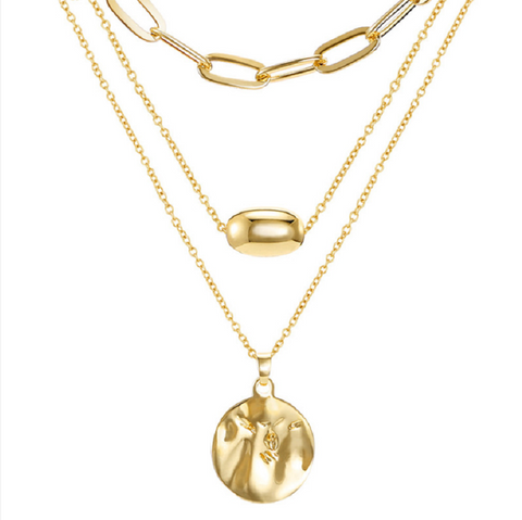 Gold Triple Layering Chain Coin Pendant Necklace