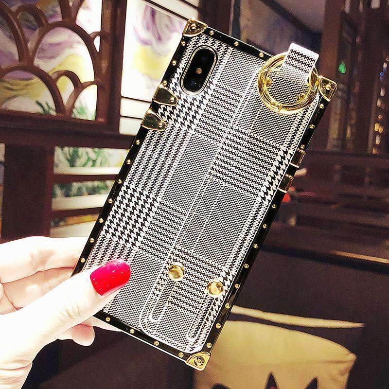 Fashion Grid iPhone Case with Wrist Strap