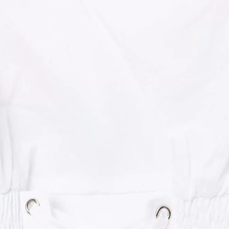 White Criss Cross Elastic Ruched Waist V-neck Cropped Shirt gallery 10