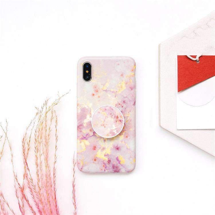 Pink Marble Style iPhone Case With Phone Holder