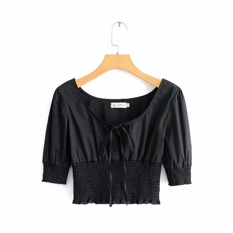 Ruched Elastic Waist Tie Front Cropped Shirt gallery 6