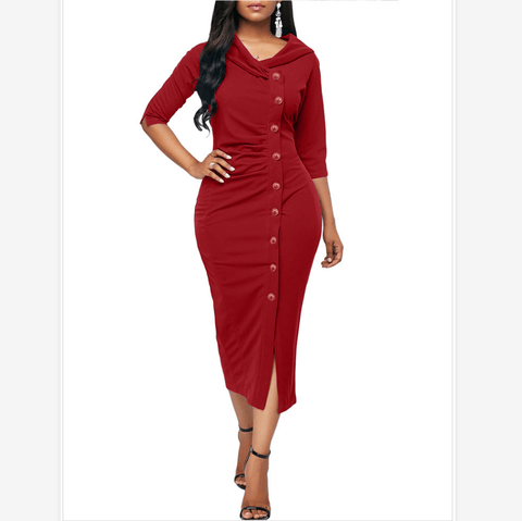 2 Colors Button Front Detail Ruched 3/4 Sleeve Midi Dress