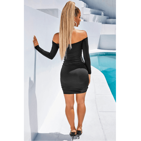 Solid Off Shoulder Drawstring Front Long Sleeve Mini Dress gallery 7