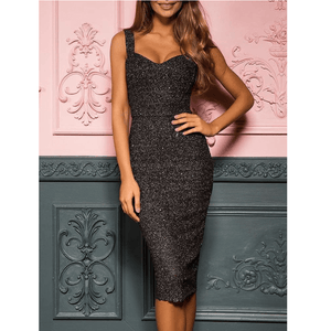 Elegant Black Glitter Strappy Skinny Midi Dress
