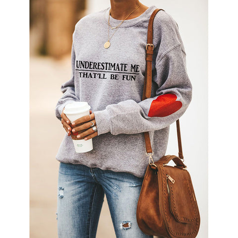 Slogan & Heart Print Drop Shoulder Sweatshirt