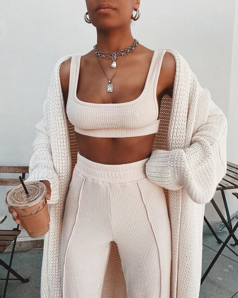Square Neck Ribbed Cropped Cami Top & Pant 2 Pieces Set