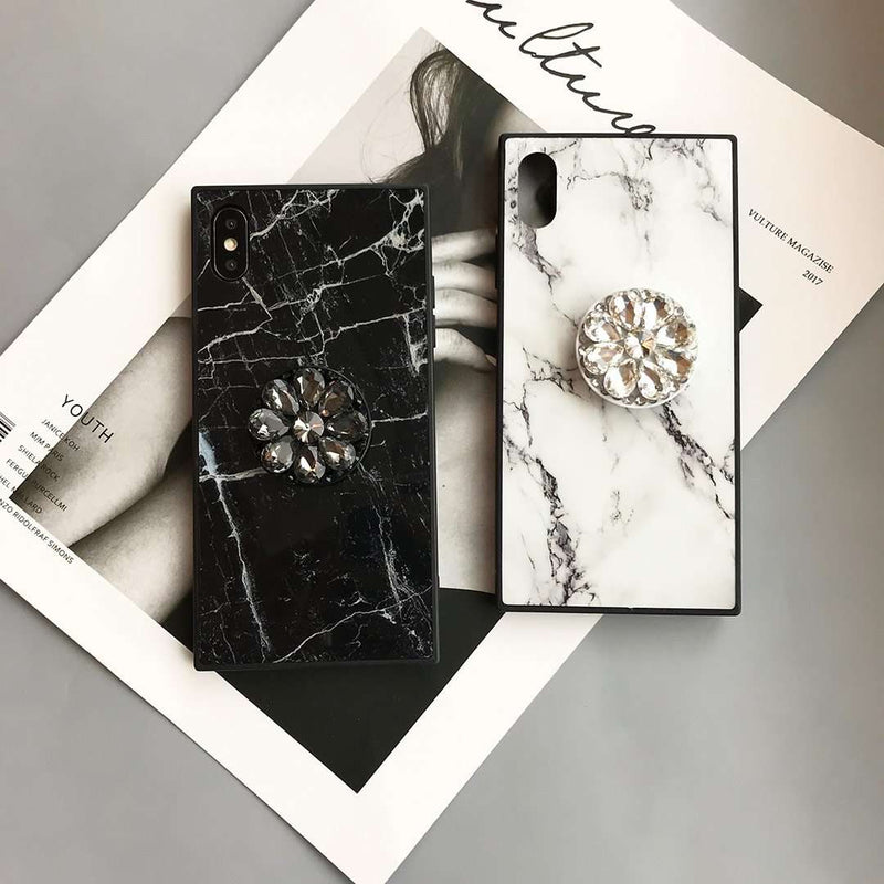 Literary Marble Pattern Square iPhone Case with Phone Holder