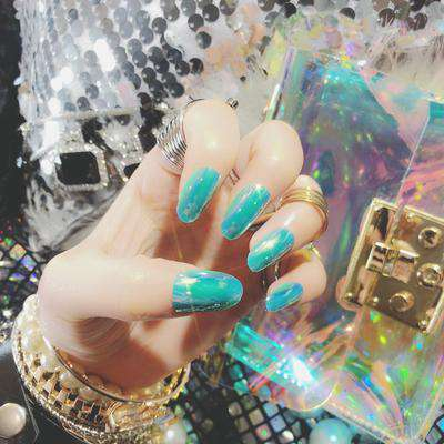 Mirror Chrome Effect Magic Press On Nail Manicure  (Dark Turquoise)