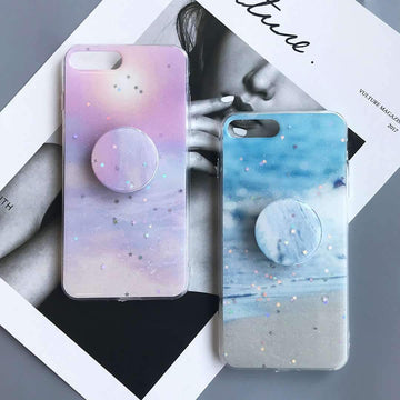 Literary Blinking Gradation Phone Case for Apple iPhone with Phone Holder